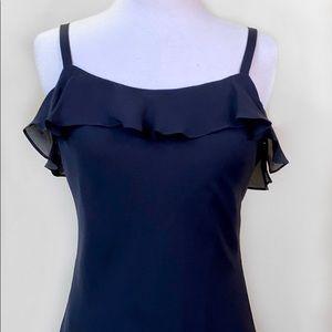 Ralph Lauren Silk Layered Ruffle Black Maxi Dress